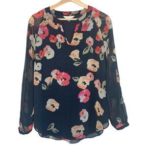 Cabi Navy and Floral Semi Shear Long Sleeve Top